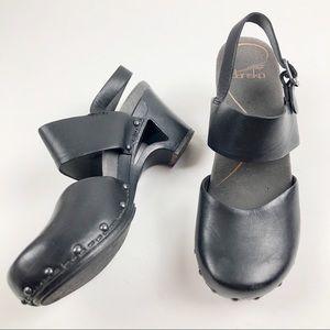 Dansko Thea black leather cut out heeled clogs 36